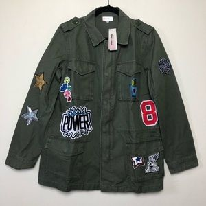 Sunset + Spring Green Military Patch Jacket Large